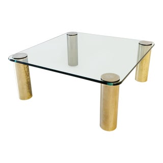 1970's Hollywood Regency Pace Patinated Brass and Glass Coffee Table For Sale