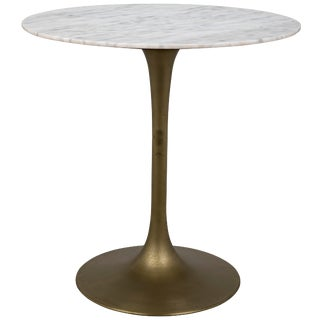 "Laredo Bar Table 40"", Antique Brass, White Marble Top For Sale"