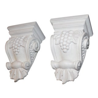 Grape Motif Wood Carved Corbels - a Pair For Sale