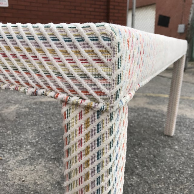 1970s Scalamandre Upholstered Parsons Console Table For Sale - Image 5 of 10