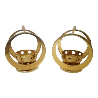 Mid Century Space Age Brass Hoop Candle Holders - Set of 2