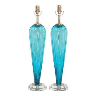 Joe Cariati Glass Table Lamps Blue For Sale