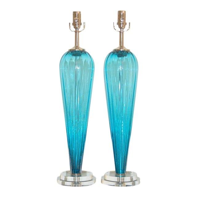 Joe Cariati Glass Table Lamps Blue For Sale