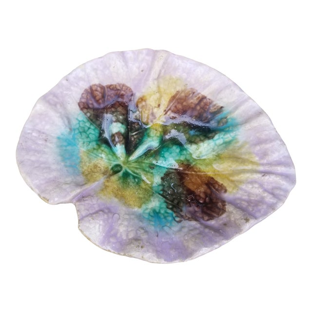 19th Century French Purple Majolica Leaf Dish For Sale