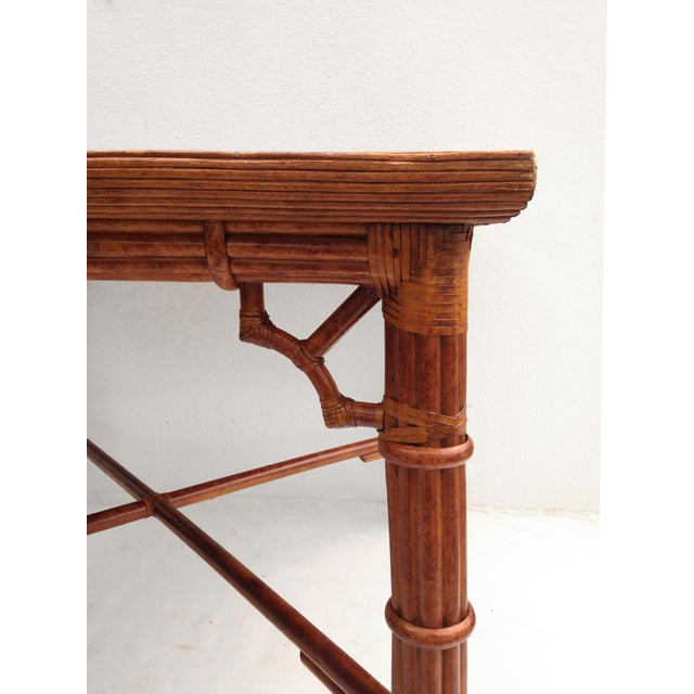 Faux Bamboo Dining Card Table - Image 2 of 3