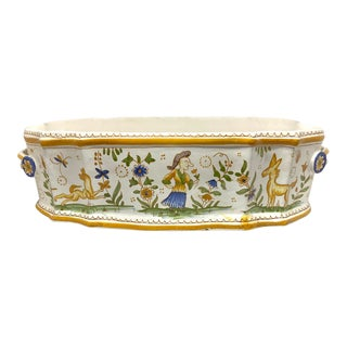 French 19th Century Vintage Faience Pottery Jardinaire For Sale
