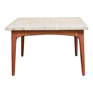 Mid-Century Teak and Travertine Side Table For Sale