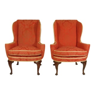 Late 19th Century George II Style Wing-Back Chairs - a Pair For Sale