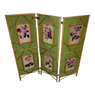 Antique Chinoiserie Green Floral Bamboo Table Screen For Sale