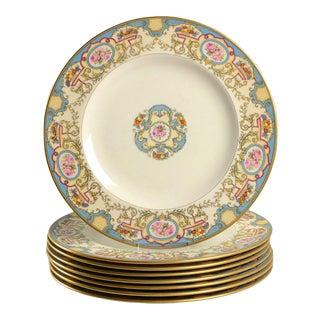 1960s Morgan Belleek Azure Dinner Plates - Set of 8 For Sale