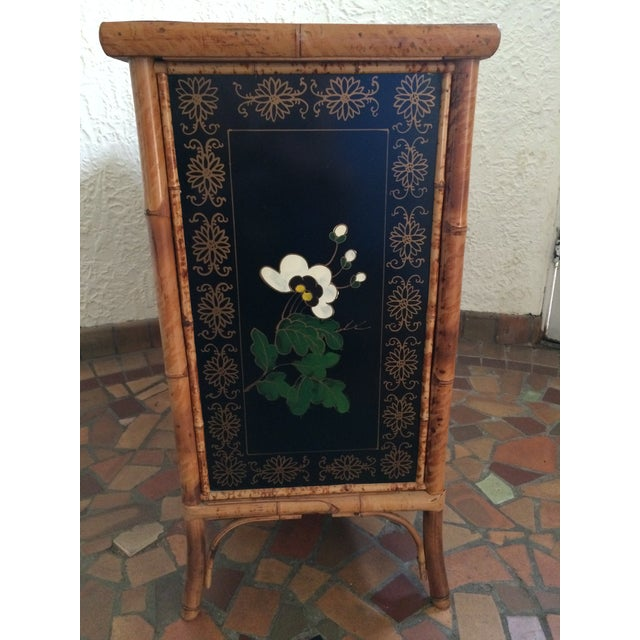 Expressionism Vintage 1960s Painted Bamboo Cabinet For Sale - Image 3 of 9
