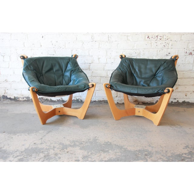 Odd Knutsen Teak Luna Chairs in Green Aniline Leather - a Pair For Sale - Image 11 of 12