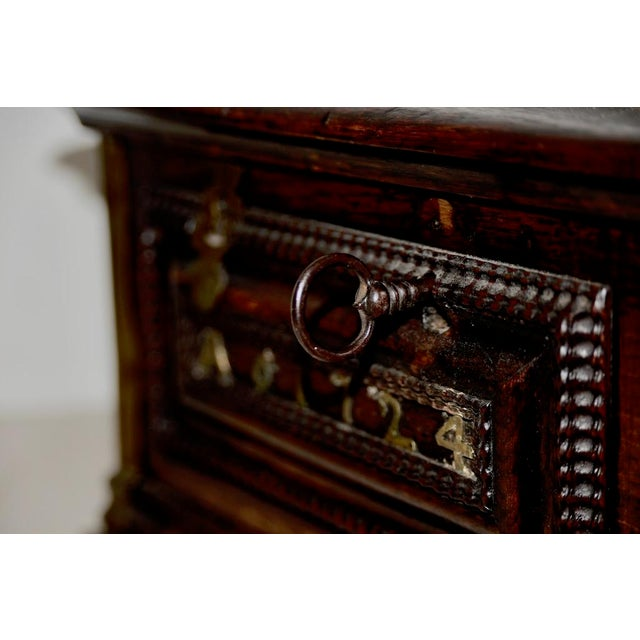 Early 18th Century Carved Walnut & Brass Alms Box C. 1724 For Sale - Image 9 of 13