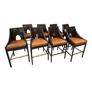 Set of 8 McGuire Barbara Barry No. O-362 Caned Barstool For Sale