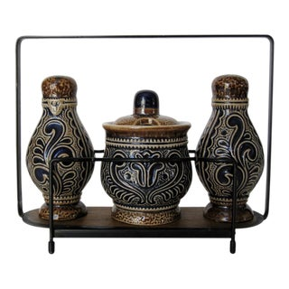 Marzi & Remy Ceramic Condiment Set For Sale