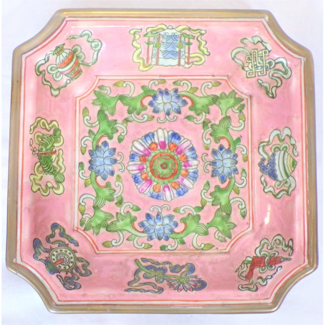 Chinese Export Porcelain Decorative Blush and Caledon Catchall Dish For Sale - Image 9 of 9