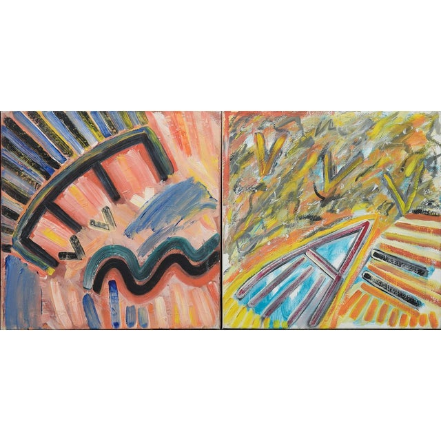 Morten Tøgern Compositions Oil Painting on Canvas, 1987 - Collection of 5 For Sale - Image 4 of 6