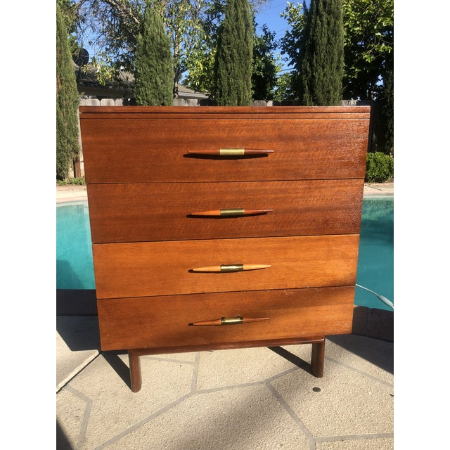 1950s 1950s Mid-Century Modern John Keal for Brown Saltman Mahogany Highboy Dresser For Sale - Image 5 of 5