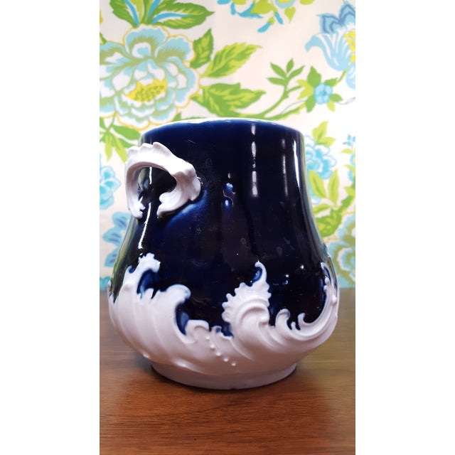 Victorian Antique Victorian Era Cobalt Blue and Bone White China Water Pitcher and Chamber Pot - Wave Like Detailing For Sale - Image 3 of 13