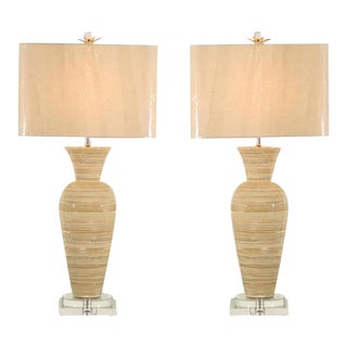 Chic Pair of Large-Scale Bamboo Vases as Custom Lamps For Sale