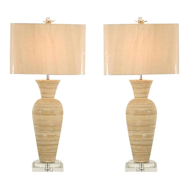 Fine Chic Pair Of Large Scale Bamboo Vases As Custom Lamps Decaso