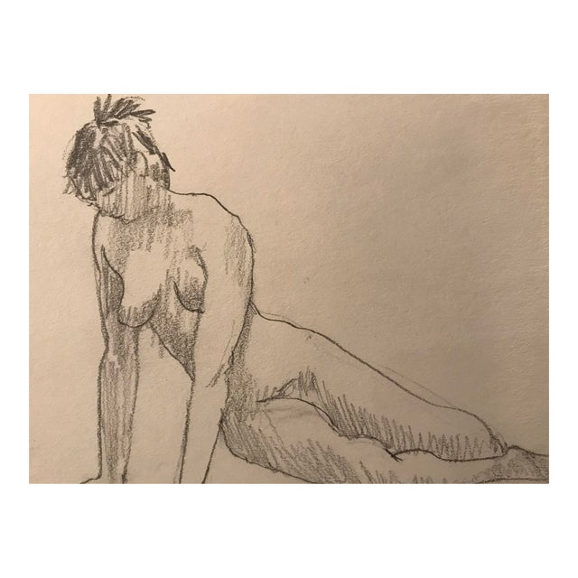 1980s Contemporary Graphite Drawing of Nude Female For Sale