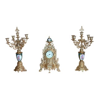 Uranio Rococo Gold/Gilt Metal Quartz Mantle Clock & Candelabra Garniture Set - 3 Pieces For Sale
