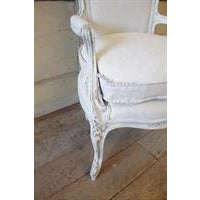 Antique French Country Style Upholstered Linen Open Armchair - Image 4 of 6