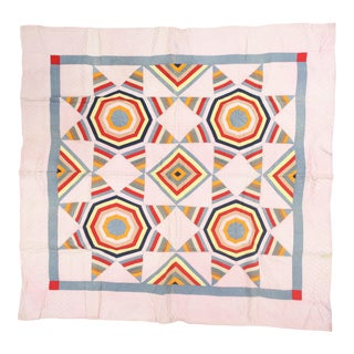 Bright Geometric Handmade Quilt For Sale