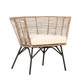 Modern Rattan & Iron Chair For Sale