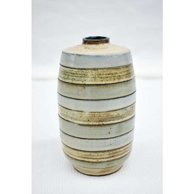1980s 1980s Traditional Earthenware Striped Vase For Sale - Image 5 of 5