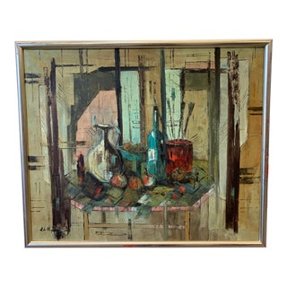 Vaughn Abstract Still Life Oil Painting on Canvas For Sale