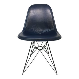 Eiffel Side Chair in Navy Blue Naugahyde by Charles Eames for Herman Miller For Sale