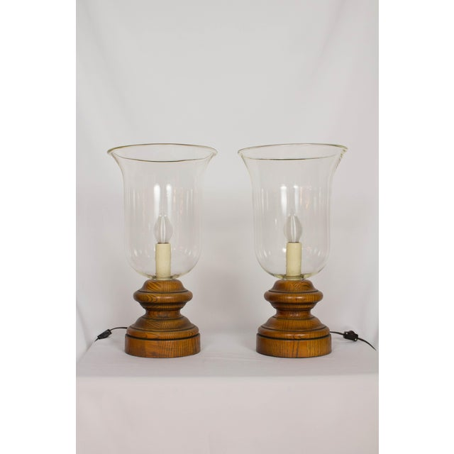 Late 20th Century 20th Century Americana Glass and Wood Hurricane Lamps - a Pair For Sale - Image 5 of 5