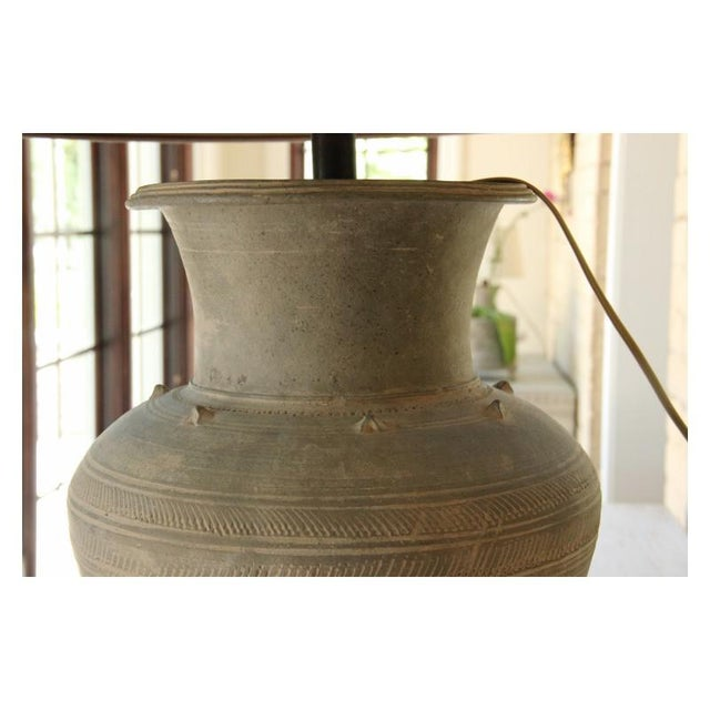 Ceramic Large Unglazed Khmer Vase as Table Lamp For Sale - Image 7 of 12