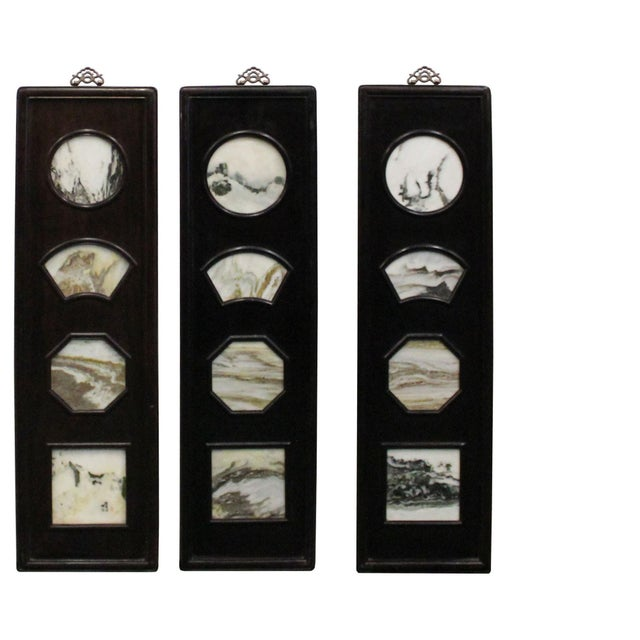 Asian Chinese Rosewood Dream Stone Scenery Wall Panel Set 4 Pieces For Sale - Image 3 of 8