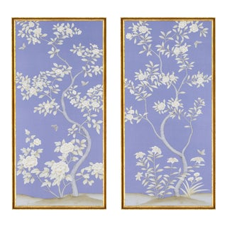 """Jardins en Fleur """"Inverness"""" Chinoiserie Hand-Painted Silk Diptych by Simon Paul Scott in Italian Gold Frame - a Pair For Sale"""