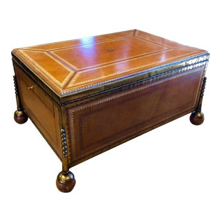 Maitland Smith Leather Clad Brass Edged Lift Top Chest on Ball Feet For Sale