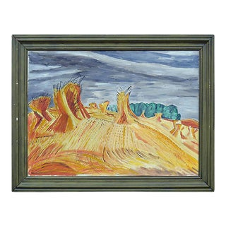 """Mid 20th Century """"Wheat Sheaves"""" Expressionist Landscape Oil Painting by Eleanor Plau, Framed For Sale"""