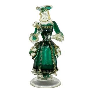 Modern Green Gold Fleck Murano Venetian Woman Table Sculpture Barovier Era 1960s For Sale