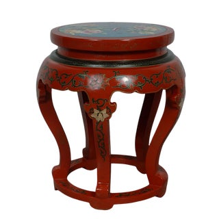 20th Century Chinese Cloisonne Top End Table/Stool For Sale
