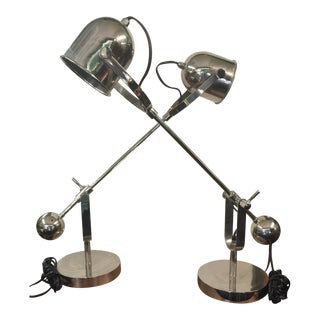 Arteriors Home Chrome Table Lamps a Pair For Sale