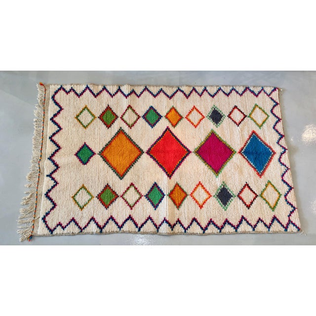 Vintage Handmade Moroccan Multi-Colored Wool Rug- 4′4″ × 7′2″ For Sale - Image 4 of 4