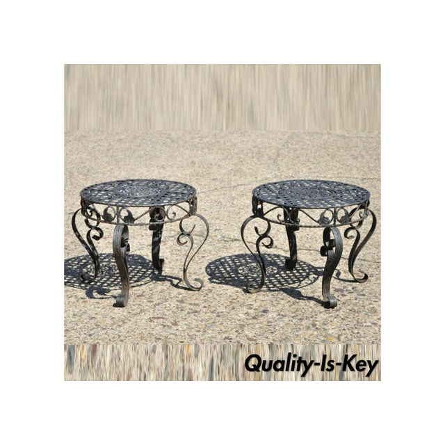 French Art Nouveau Style Wrought Iron Lattice Top Round Side Tables - a Pair For Sale - Image 12 of 12