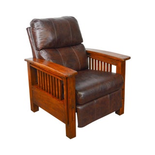 Mission Arts & Crafts Style Brown Leather Recliner Morris Chair