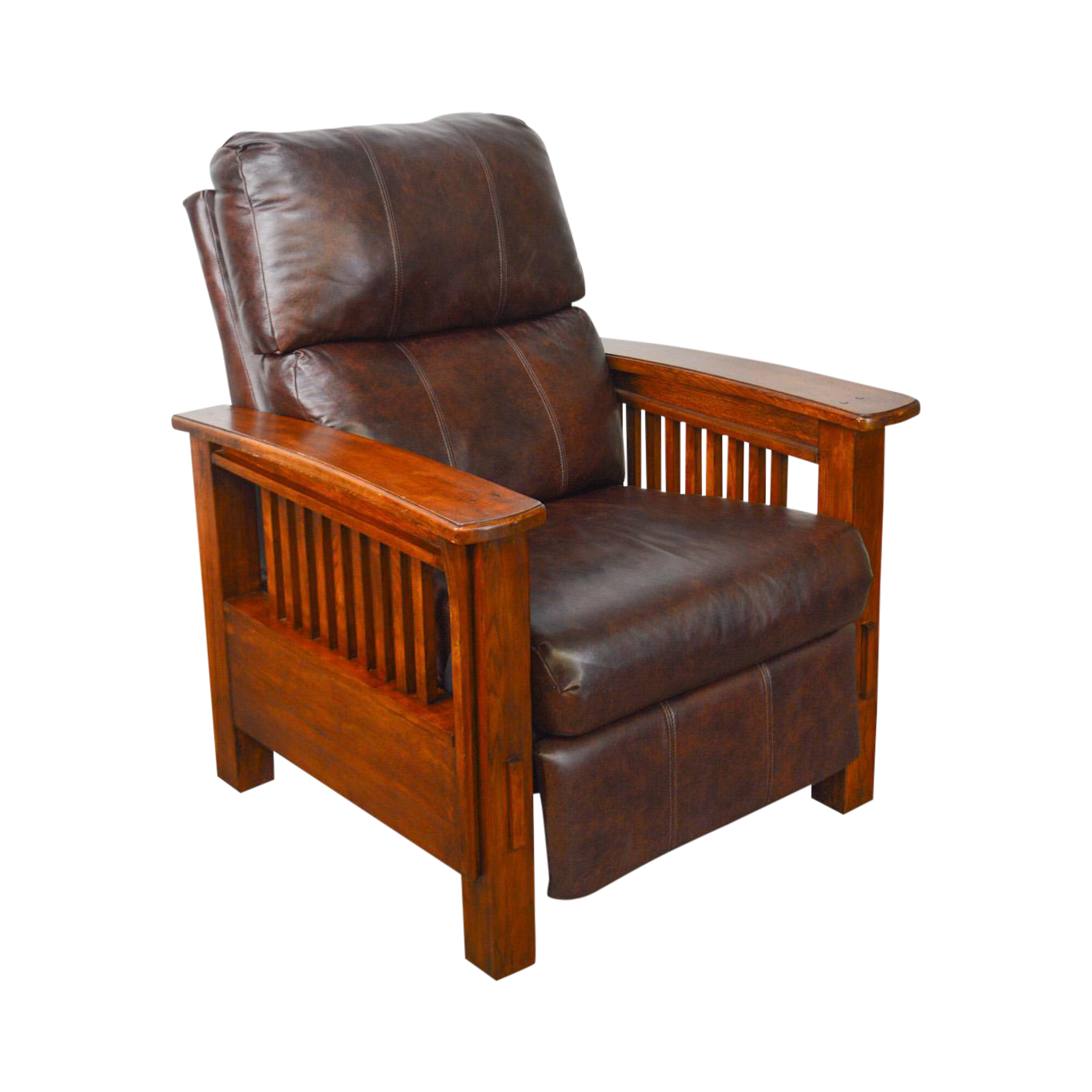 Mission Arts U0026 Crafts Style Brown Leather Recliner Morris Chair