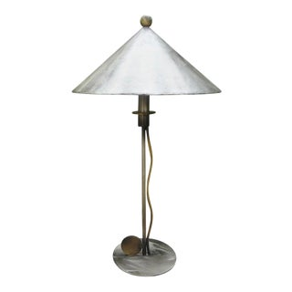 Robert Sonneman Steel and Brass Lamp For Sale