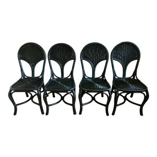 Vintage Pennsylvania House Black Bamboo Rattan Chairs - Set of 4 For Sale
