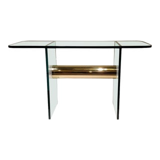 1980s Mid Century Glass and Brass Console For Sale