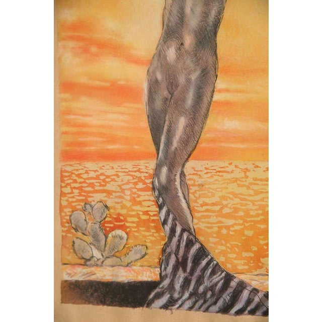 Gold One of a Kind Art Deco Watercolor by Eduard Chimot Custom Framed For Sale - Image 8 of 11